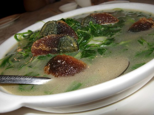 spinach soup chinese style with century egg