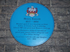 Photo of Henry Fawcett blue plaque