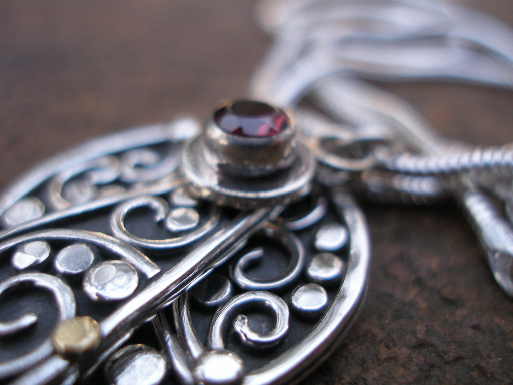 Filigree Charmed Necklace with Garnet