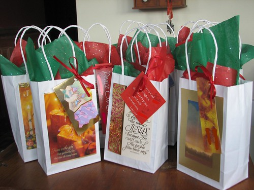 gift bags, tagged and filled with treats