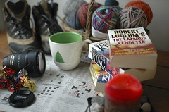 My Favorite Things (pshorten) Tags: wool cup sign paper lens book newspaper knitting candle boots handmade knit yarn puzzle cups homemade mug novel coffeemug crosswordpuzzle hikingboots nikonlens 10thingsjan08