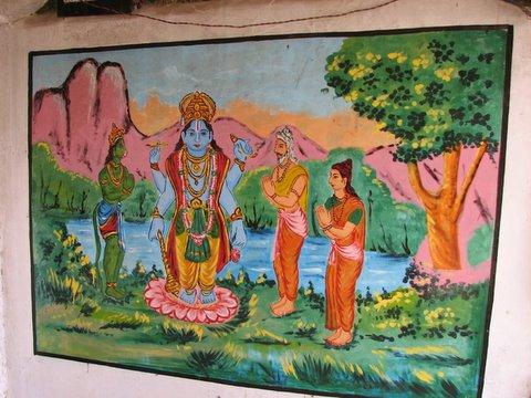 adoration of Vishnu b r temple mural