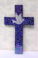 Blue iridium cross (stiglice - Judit) Tags: cross mosaic mosaique mozaiek mozaik