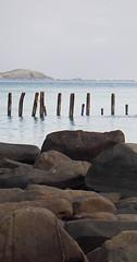 seascape (arepera) Tags: blue sea beach water azul pier muelle mar agua rocks puertorico stones playa culebra pr rocas piedras pilons pilones 6retos6