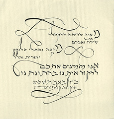 Hebrew Calligraphy Wedding Invitation (Octavine Illustration) Tags: original wedding writing typography invitation jewish calligraphy hebrew commission judaica tacomaartmuseum writtenword portlandartist hebrewcalligraphy customweddinginvitation octavineillustration carabuchalter