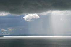 Rain over Lake Oahe (vfluckey) Tags: cloud storm rain weather clouds southdakota pierre thunderstorm storms shaft 2007 severe thunderstorms severeweather lakeoahe rainshaft oahedam cumulonimbusvirga southdakotathunderstorms