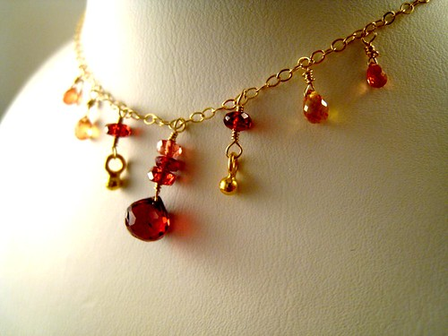 Punono - Gold filled orange sapphire, spinel and garnet necklace