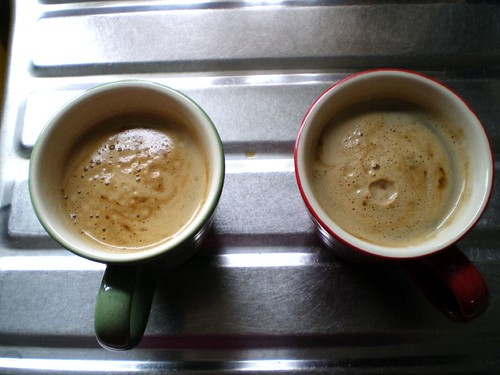 Two huge cappuccinos