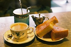 (bobby stokes) Tags: food slr film cup coffee japan breakfast bread japanese fuji toast cream spoon natura sugar 1600 nagoya fujifilm analogue teacup saucer  fujicolor morningset natura1600 fujinatura1600 fujicolour fujifilmnatura1600 fujicolornatura1600