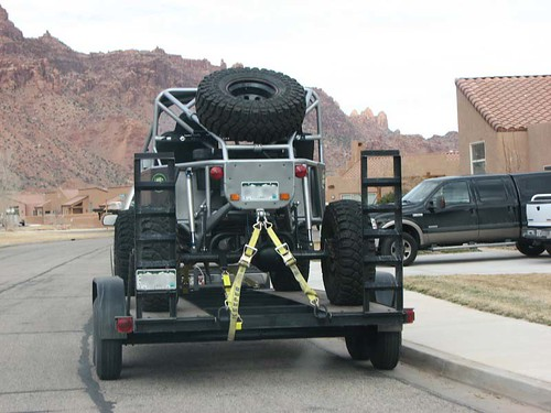 A rock crawler parked in a rental condo neighborhood in Moab.