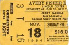 TICKET 11/18/84 JERRY & JOHN KAHN @ LINCOLN CENTER