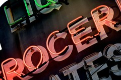 Rocer (Jeremy Brooks) Tags: sanfrancisco california red green vintage neon unitedstates liquor grocery