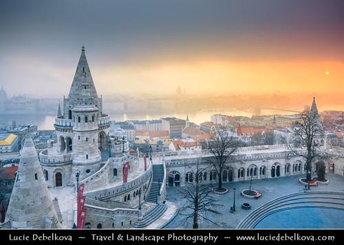 Hungary - Budapest - Fisherman's Bastion - Halászbástya at the Castle Hill at Sunrise