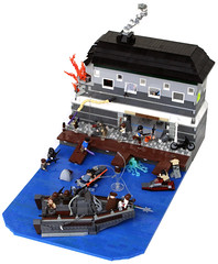 Waterworks (Chase Lewis [Vid]) Tags: ski port docks giant boat fight ship waterfront post lego pirates jet apocalypse battle warehouse dio scifi minifig waterworks diorama apocalyptic survivors moc fleebnork brickarms foitsop apocalego