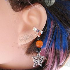 Orange and Black Butterfly Cartilage Ear Cuff