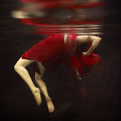 falling apart (brookeshaden) Tags: red reflection girl photography blood underwater surreal bent struggle strain weightless pained brookeshaden texturebylesbrumes