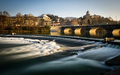 Weir and bridge over the River Po in Turin, Italy (Mister Electron) Tags: bridge italy river torino eu slowshutter turin piedmont ndfilter riverpo nikond800