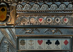 Not Made Like This Anymore:  Antique Slots (cobalt123) Tags: gambling game metal metallic castiron chance slots slotmachine throughglass thepilot riversidecasino donlaughlincollection 1906ph antiqueslotmachine