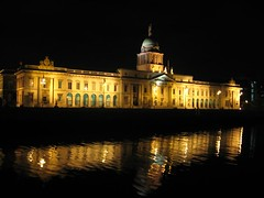 Customs  House reflected in Lifffey, Dublin, Ireland