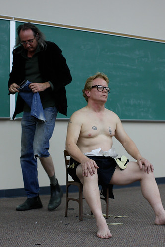 Ken Little awaits Yoko Ono Cut Piece 2007 Texas