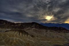 Zabriskie Point, Death Valley (Thad Roan - Bridgepix) Tags: california sunset sky sun sunlight mountains clouds skyscape landscape nationalpark rocks desert wikipedia deathvalley geology zabriskiepoint hdr photomatix 200711