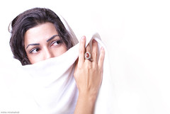 Shame.. (Mitra Mirshahidi-) Tags: portrait white art girl scarf persian eyes soft hand explore innocence shame glance mdchen purity      betterthangood