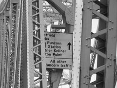 Silver Jubilee Bridge (Secret Pilgrim) Tags: blackandwhite sign cheshire silverjubileebridge
