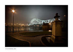 Runcorn Bridge, England (Ian Bramham) Tags: bridge england mist night photography photo image fineart bridges photograph northern merseyside d40runcornbridge ianbramham