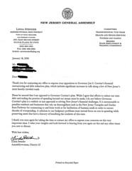 Linda Stender constituent letter on asset monetization plan