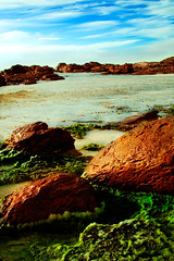 moss crusted (mela.de.gypsie) Tags: ocean blue summer green beach moss rocks warm skies afternoon roadtrip cape margaretriver westernaustralia        prevelley