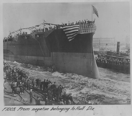 USS New York leaving the ways; Image courtesy of BNYDC Flickr