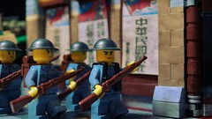 Lego Chinese Troops Entering Shanghai 1937 (Force Movies Productions) Tags: lego chinese soldiers wwii second sinojapanese war conflict toy minfig brickarms prpaganda posters kmt brodie helmets guns rifles texture photograpgh photo picture world ii