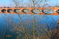 il ponte vecchio (archgionni) Tags: ponte bridge mattoni bricks acqua blu blue arancione orange fiume river po riflessi reflections alberi trees rami branches piemonte italia italy christiangroup