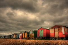 Whitstable Beach Huts (fast eddie 42) Tags: uk colour beach clouds grey kent vivid overcast huts beachhuts whitstable fasteddie42 whitstablebeachhuts beachhutswhitstable