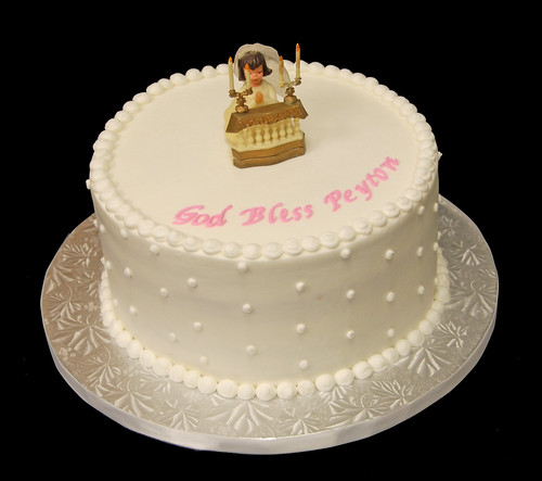 White Swiss Dot First Communion Cake