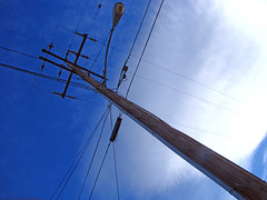 My Continuing Obsession With Power Poles-Blue Return (Barstow Steve) Tags: sky clouds power poles blus