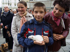 A visit to Cracow (Chris Kutschera) Tags: boy pet rat poland blessing cracow cracovie ambiance pologne benediction animaldecompagnie atmosphre