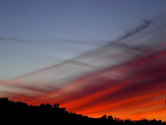 Autumnal Sunset (Sandra_R) Tags: autumn trees light sunset red sky portugal weather clouds outdoors photography evening twilight colours exterior shine seasons natural dusk flames silhouettes nobody simplicity landforms naturalworld hillsandmountains anawesomeshot impressedbeauty superbmasterpiece theredhighway
