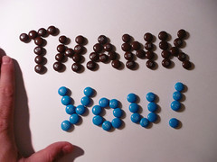 Thank You spelled with M&M's