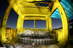 good living (It was the light, it was the angle) Tags: park longexposure blue moon abandoned yellow night digital canon stars eos interestingness flood fullmoon fisheye explore sofa flashlight 5d trailer morris dslr gels gel 15mm saltonsea flooded gelled ineeddadrink interestingness103107
