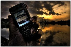 My Personal Secretary (Chee Seong) Tags: sunset lake clouds canon nokia phone 1022mm titiwangsa blueribbonwinner eveining 400d mywinners colorphotoaward aplusphoto eyeonmalaysia diamondclassphotographer