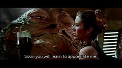 nasty Jabba licks golden bikini Princess Leia