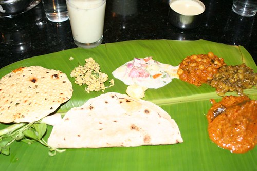 Northern Karnataka meal on banana leaf