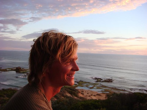 Nicolai enjoying a fantastic sunset at Sorrento's Ocean Beach...