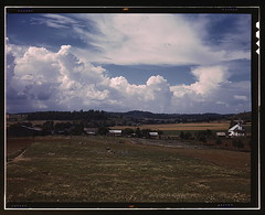 Countryside near the TVA site of the Douglas dam, Tenn.  (LOC) (The Library of Congress) Tags: nature clouds landscape countryside tennessee tenn cumulus libraryofcongress 1942 tva seviercounty farmlands tennesseevalleyauthority xmlns:dc=httppurlorgdcelements11 douglasdam dc:identifier=httphdllocgovlocpnpfsac1a35259 palmeralfredt