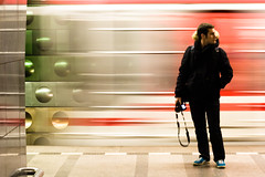 Lost In Train Station (lapoutre2tek) Tags: camera motion blur station speed canon subway lost eos waiting europe czech prague metro praha explore wait pumas puma malostranska tchequie eole beaugosse metrolife 400d rpubliquetcheque ole lapoutre lapoutre2tek jeremeole 100commentgroup bonphotographe malostransk