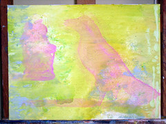 first layer of new painting (whalecrow) Tags: painting drawing contemporaryart figurative andyfoulds whalecrow tomdefreston