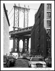 Manhattan Bridge (Natasja ❤) Tags: street new york city nyc bridge urban blackandwhite bw white ny newyork black brooklyn movie poster manhattan police landmark onceuponatime manhattanbridge policecar top30winners
