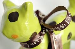 Wasabi Sculpture (Endless Whimsy) Tags: sculpture pet brown green animal tangerine cat kitty polka etsy dots wasabi efa endlesswhimsy