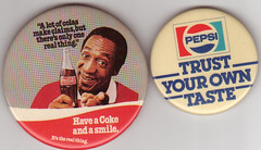 Coke vs. Pepsi (Will S.) Tags: buttons coke pins pop pepsi soda pepsicola cocacola badges softdrink billcosby softdrinks colawars